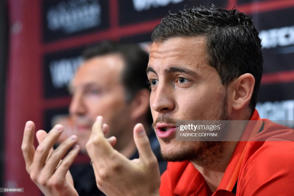 Belgium's national football midfielder Eden Hazard gives a press conference on the eve of the friendly match Switzerland vs Belgium on May 27, 2016 in Lausanne. The Belgian team is in Lausanne for a training camp in preparation for the UEFA Euro 2016 football championship in France. / AFP / FABRICE
