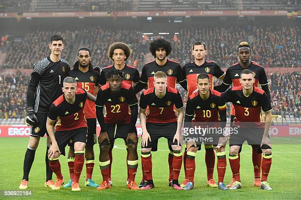 Belgium's national football team defender Toby Alderweireld forward Michy Batshuayi midfielder Kevin De Bruyne midfielder Eden Hazard defender Thomas...