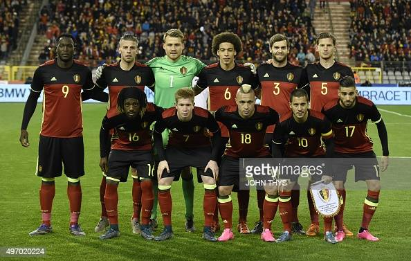 Belgium's national football team players pose before the friendly football match between Belgium and Italy at the King Baudouin Stadium on November...