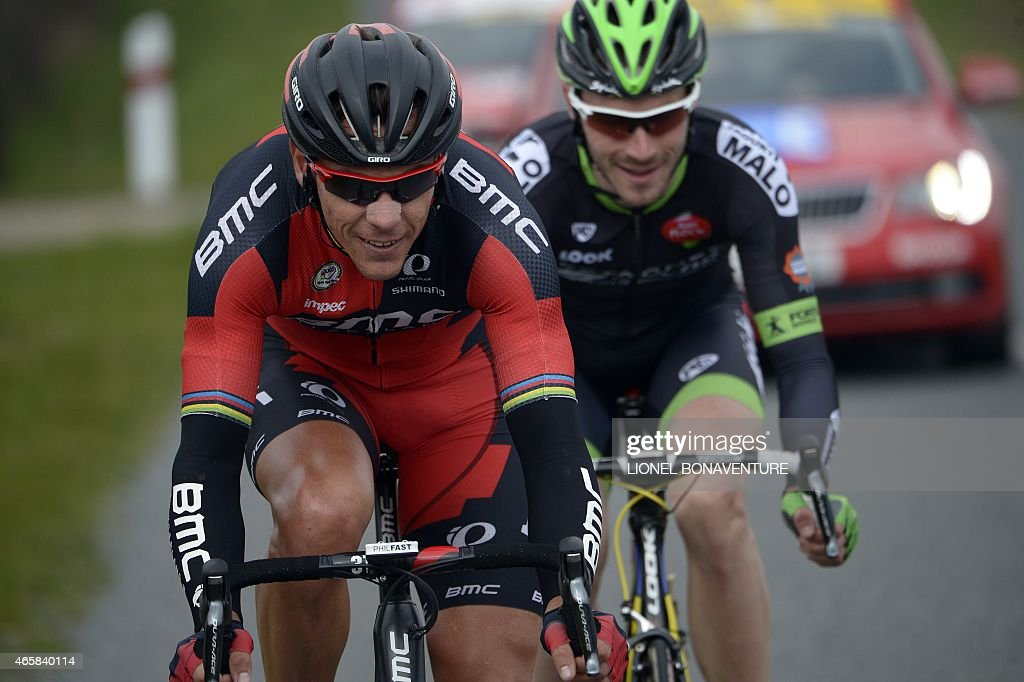 Belgium's <a gi-track='captionPersonalityLinkClicked' href=/galleries/search?phrase=Philippe+Gilbert&family=editorial&specificpeople=578487 ng-click='$event.stopPropagation()'>Philippe Gilbert</a> (L) and France's Florian Vachon ride in a breakaway during the third stage of the 73rd edition of the Paris-Nice cycling race, between Saint-Amand-Montrond and Saint-Pourcain-sur-Sioule, on March 11, 2015. AFP PHOTO / LIONEL BONAVENTURE