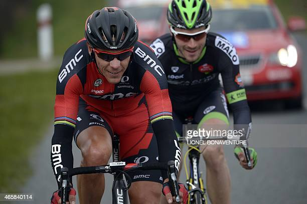 Belgium's Philippe Gilbert and France's Florian Vachon ride in a breakaway during the third stage of the 73rd edition of the ParisNice cycling race...