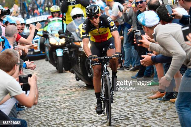 Belgium's Philippe Gilbert of QuickStep Floors rides during the 101st edition of the 'Ronde van Vlaanderen Tour des Flandres Tour of Flanders' one...