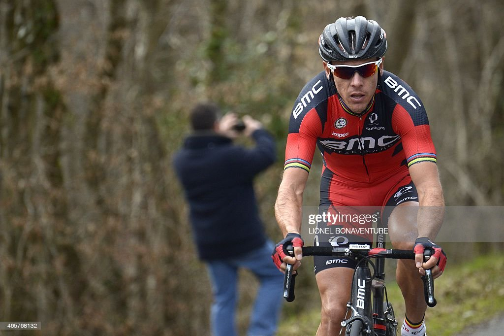 Belgium's <a gi-track='captionPersonalityLinkClicked' href=/galleries/search?phrase=Philippe+Gilbert&family=editorial&specificpeople=578487 ng-click='$event.stopPropagation()'>Philippe Gilbert</a> rides during the second stage of the 73rd edition of the Paris-Nice cycling race, between the Beauval zoo in Saint-Aignan and Saint-Amand-Montrond, on March 10, 2015.