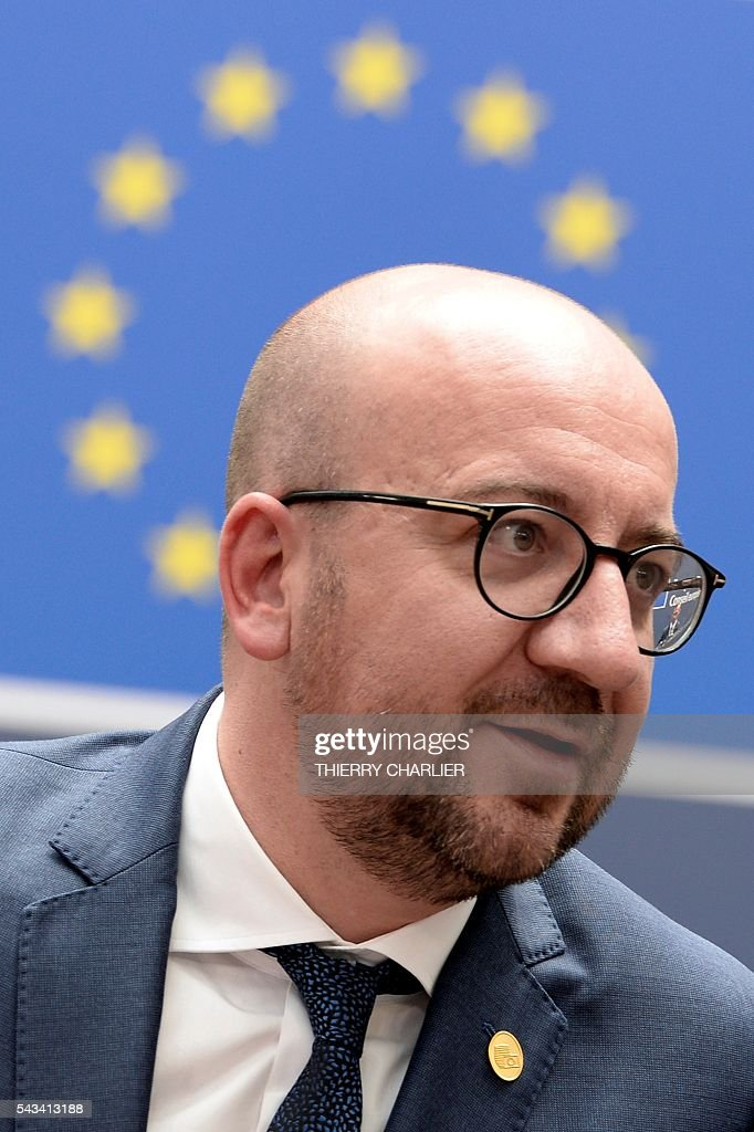 Belgium's Prime minister Charles Michel arrives before an EU summit meeting on June 28, 2016 at the European Union headquarters in Brussels. / AFP / THIERRY
