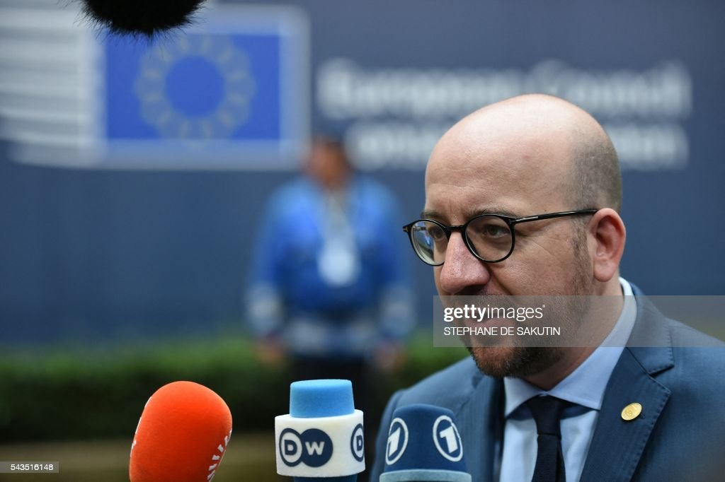Belgium's Prime minister Charles Michel arrives before an EU summit meeting on June 29, 2016 at the European Union headquarters in Brussels. European Union leaders will assess the damage from Britain's decision to leave the bloc and try to prevent further disintegration, as they meet for the first time without a British representative on June 29, 2016. And as the shockwaves reverberate around British politics, Scottish First Minister Nicola Sturgeon is also expected in Brussels 'utterly determined' to keep her pro-EU country in the club despite the Brexit vote. SAKUTIN