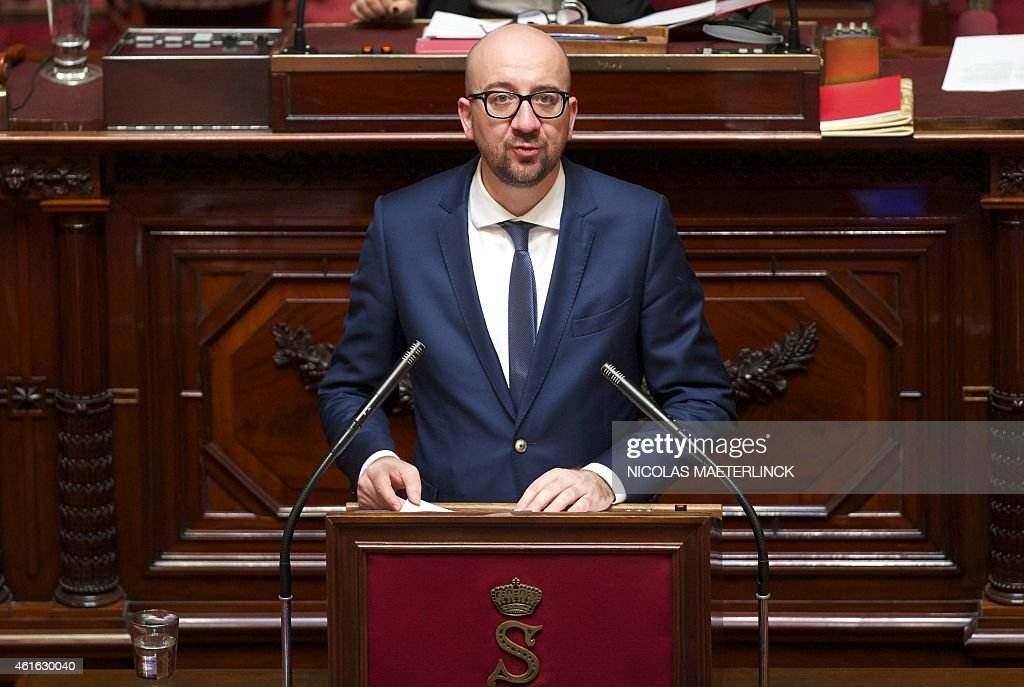 Belgium's Prime Minister <a gi-track='captionPersonalityLinkClicked' href=/galleries/search?phrase=Charles+Michel+-+Homme+politique&family=editorial&specificpeople=13722663 ng-click='$event.stopPropagation()'>Charles Michel</a> speaks during a plenary session of the senate, at the federal parliament on January 16 2015 in Brussels. AFP PHOTO / BELGA PHOTO / NICOLAS MAETERLINCK **Belgium Out**