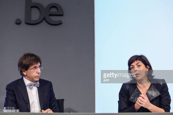 Belgium's Prime Minister Elio Di Rupo and VicePrime Minister and Interior Minister Joelle Milquet give a press conference after a restricted...