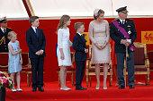 Belgium's Princess Eleonore Prince Gabriel Crown Princess Elisabeth Queen Mathilde of Belgium Prince Emmanuel and King Philippe of Belgium attend the...