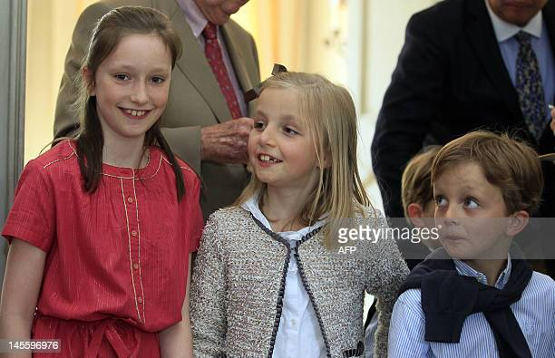 Belgium's Princess Laetitia Maria Princess Luisa Maria and Prince Aymeric pose during the celebrations for the 50th birthday of Princess Astrid born...