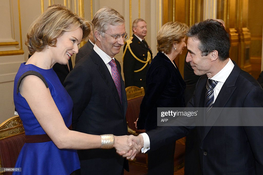 Belgium's Princess Mathilde (L) and Crown Prince Philippe shake hands with NATO Secretary General Anders Fogh Rasmussen during a reception of the Royal family for several representatives of SHAPE and NATO, at the Royal Palace, in Brussels on January 15, 2013. AFP PHOTO / BELGA - DIRK WAEM