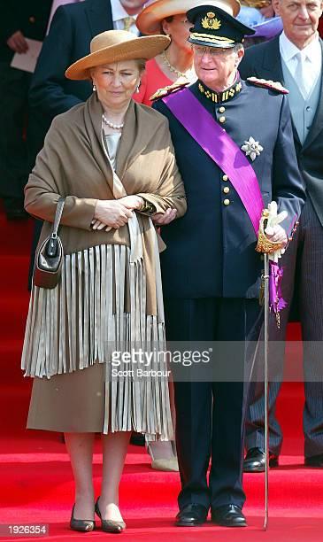 Belgium's Queen Paola and Belgium's King Albert II leave after attending the wedding ceremony of Belgium's Princess Claire Coombs and Belgium's...