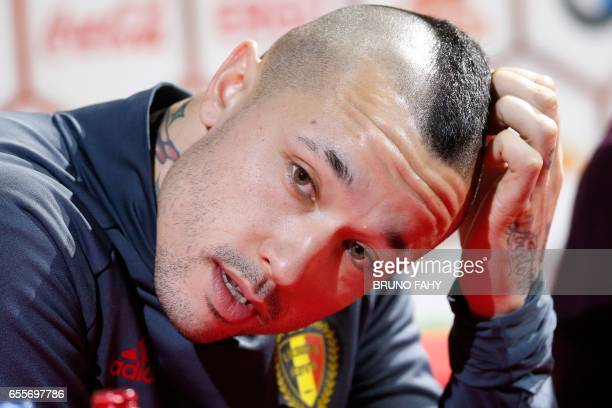 Belgium's Radja Nainggolan speaks during a press conference after a training session of Belgian national soccer team Red Devils on March 20 at the...