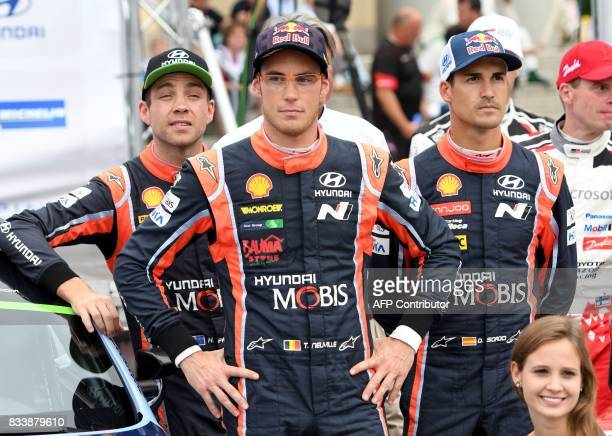Belgium´s Rally driver Thierry Neuville Spanish driver Dani Sordo and Newzealand´s driver Hayden Paddon pose the official start of the Rally of...