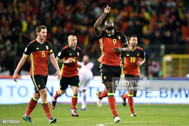 Belgium's Romelu Lukaku celebrates after scoring during the FIFA World Cup 2018 qualification football match between Belgium and Greece at the King...