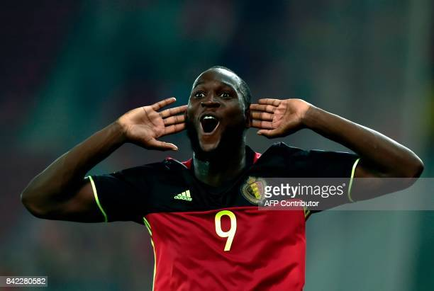 Belgium's Romelu Lukaku celebrates after scoring during their Group H 2018 FIFA World Cup qualifying football match between Greece and Belgium at The...