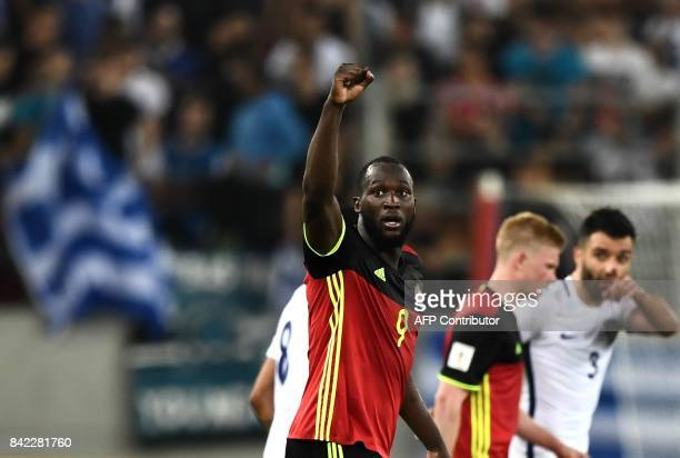 Belgium's Romelu Lukaku celebrates after scoring during their Group H 2018 FIFA World Cup qualifying football match between Greece and Belgium at The...
