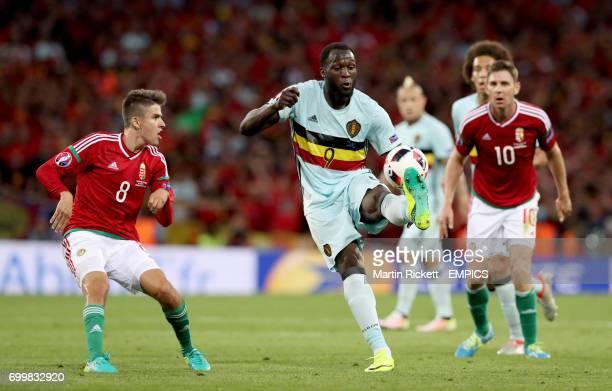 Belgium's Romelu Lukaku controls the ball away from Hungary's Adam Nagy
