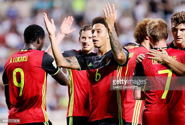 Belgium's Romelu Lukaku is congratulated by teammates after he scored a goal during the World Cup 2018 Europe qualifying football match Cyprus versus...
