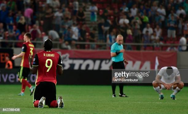 Belgium's Romelu Lukaku reacts at the end of the Group H 2018 FIFA World Cup qualifying football match between Greece and Belgium at The Georgios...