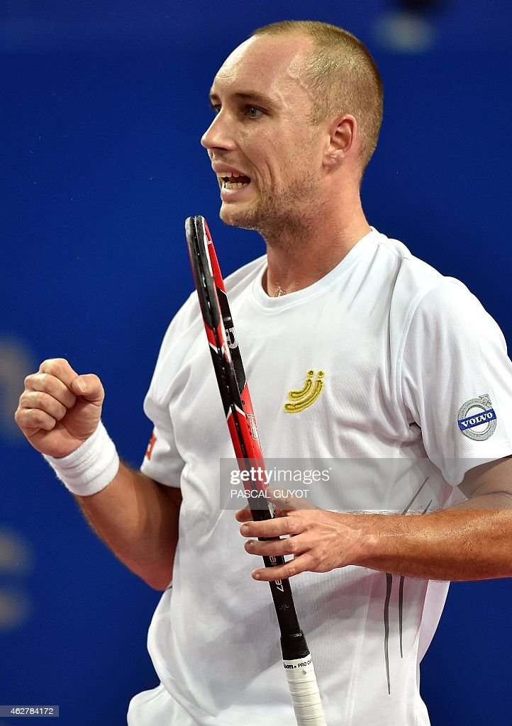 Belgium's <a gi-track='captionPersonalityLinkClicked' href=/galleries/search?phrase=Steve+Darcis&family=editorial&specificpeople=4354952 ng-click='$event.stopPropagation()'>Steve Darcis</a> reacts after a point against Finland's Jarkko Nieminen during their world tour ATP Open Sud de France tennis match on February 5, 2015 in Montpellier, southern France. AFP PHOTO / PASCAL GUYOT