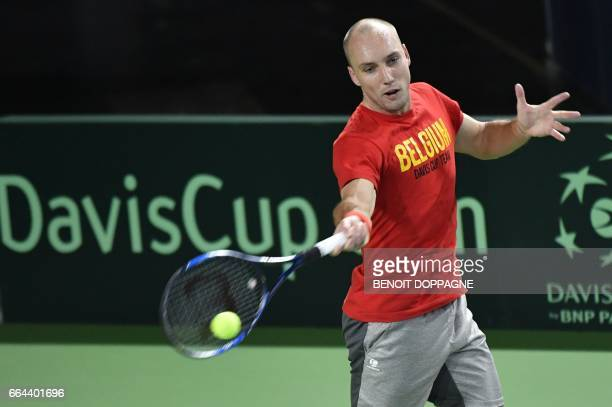 Belgium's Steve Darcis takes part in a a training session of the Belgian team ahead of the Davis Cup World Group quarterfinal between Belgium and...