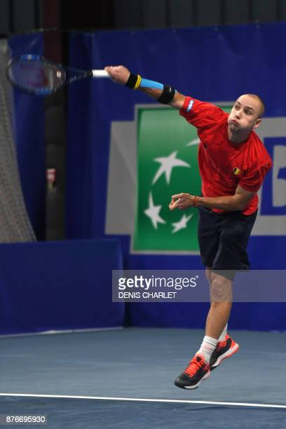 Belgium's Steve Darcis takes part in a training session of the Belgian Davis Cup Tennis team on November 20 2017 in MarcqenBaroeul ahead of the Davis...