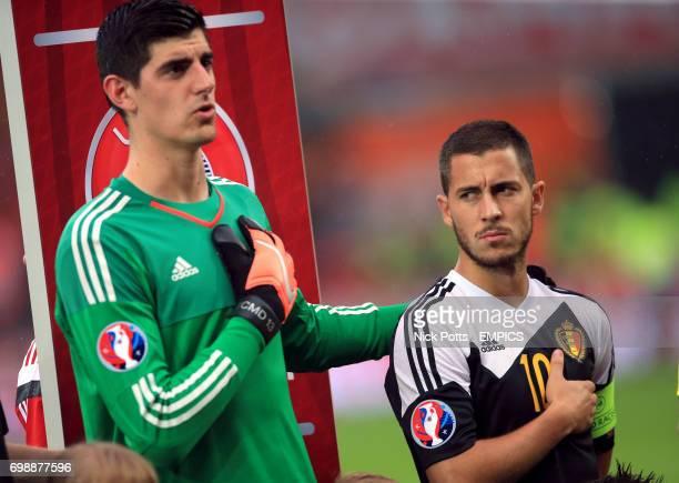 Belgium's Thibaut Courtois and Eden Hazard during the national anthems