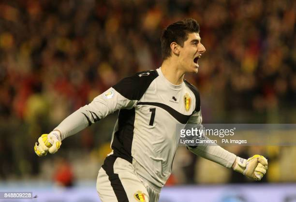 Belgium's Thibaut Courtois celebrates the first goal during the World Cup Group A Qualifying match at the King Baudouin Stadium Brussels Belgium