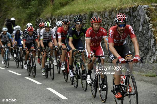 Belgium's Thomas De Gendt France's Julien Simon Spain's Imanol Erviti Switzerland's Stefan Kung lead a breakaway during the 2145 km twelfth stage of...