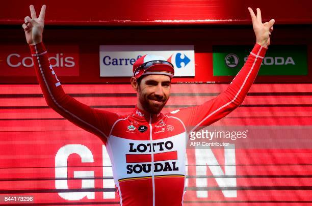 Belgium's Thomas De Gendt of team LottoSoudal celebrates on the podium after winning the 19th stage of the 72nd edition of 'La Vuelta' Tour of Spain...