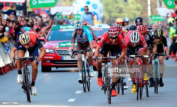Belgium's Thomas De Gendt of team LottoSoudal sprints as he crosses the finish line to win the 19th stage of the 72nd edition of 'La Vuelta' Tour of...