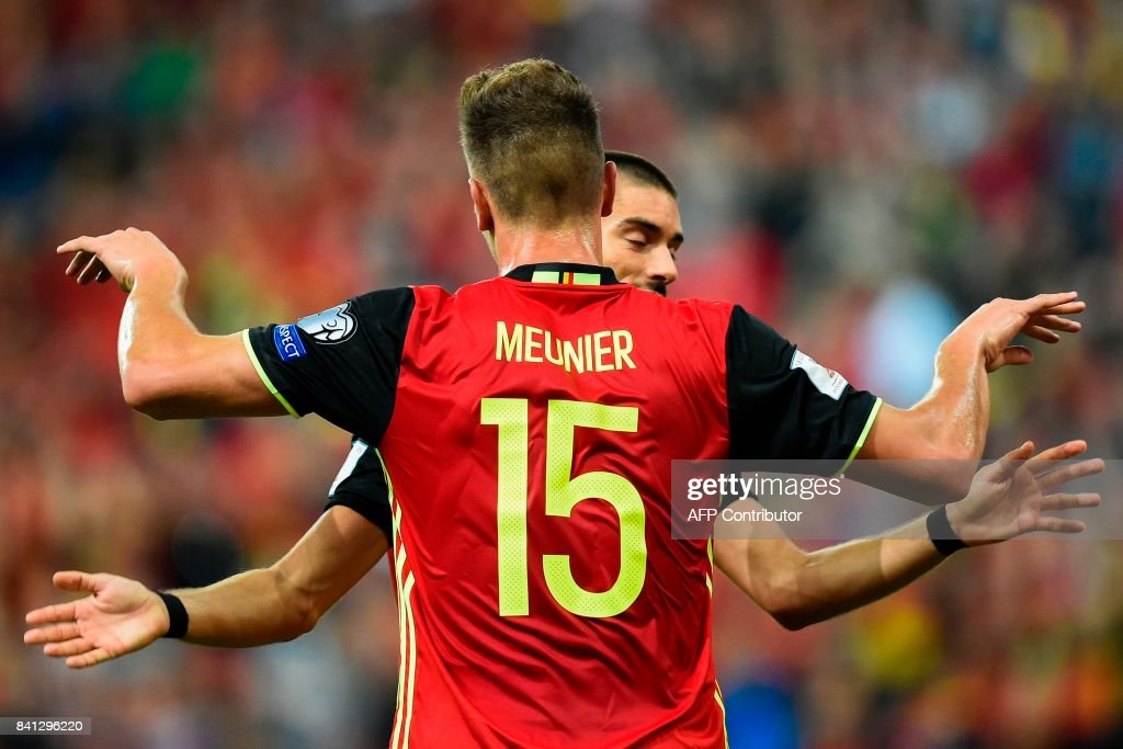 Belgium's Thomas Meunier (Front) celebrates after scoring a goal during the WC 2018 football qualification football match between Belgium and Gibraltar, at the Dufrasne Stadium, on August 31, 2017 in Sclessin. /