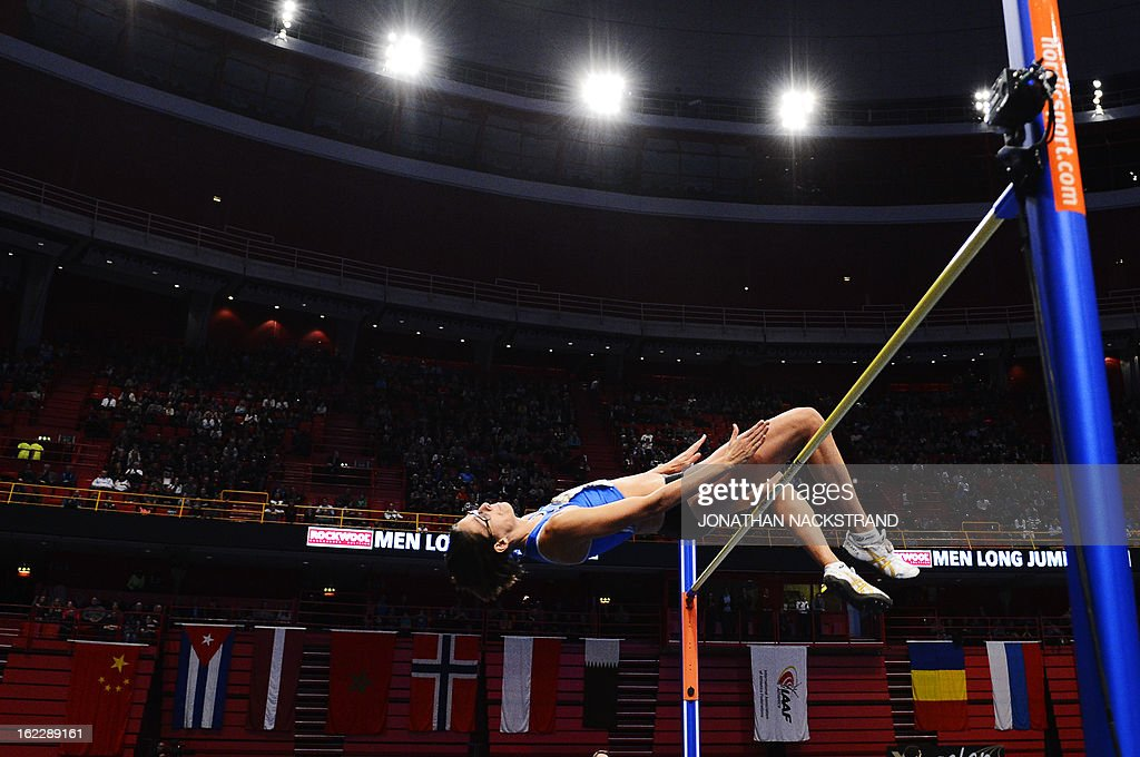 Belgium's Tia Hellebaut competes during the women's high jump event of the XL Galan Stockholm Athletics Indoor meeting on February 21, 2013 at the Ericsson Globe Arena in Stockholm. AFP PHOTO/JONATHAN NACKSTRAND
