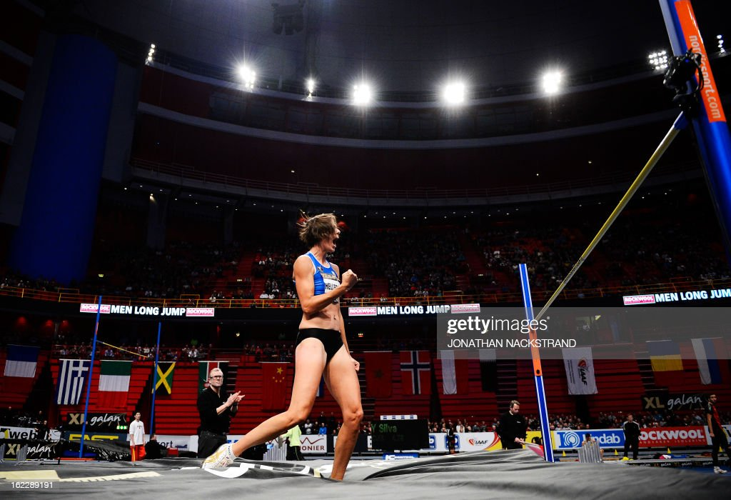 Belgium's Tia Hellebaut competes during the women's high jump event of the XL Galan Stockholm Athletics Indoor meeting on February 21, 2013 at the Ericsson Globe Arena in Stockholm.