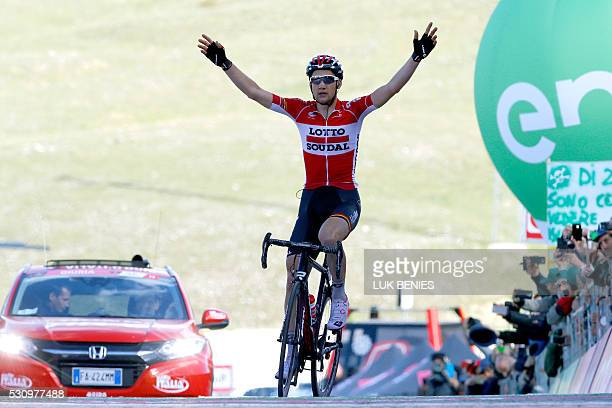 Belgium's Tim Wellens of Lotto Soudal team celebrates as he crosses the finish line at the end the sixth stage a 157km ride from Ponte to Roccaraso...