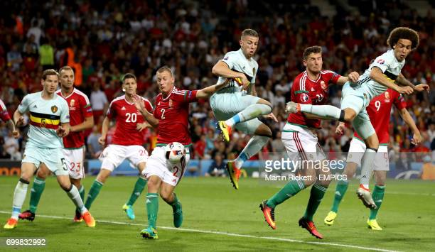 Belgium's Toby Alderweireld attempts to flick the cross towards goal