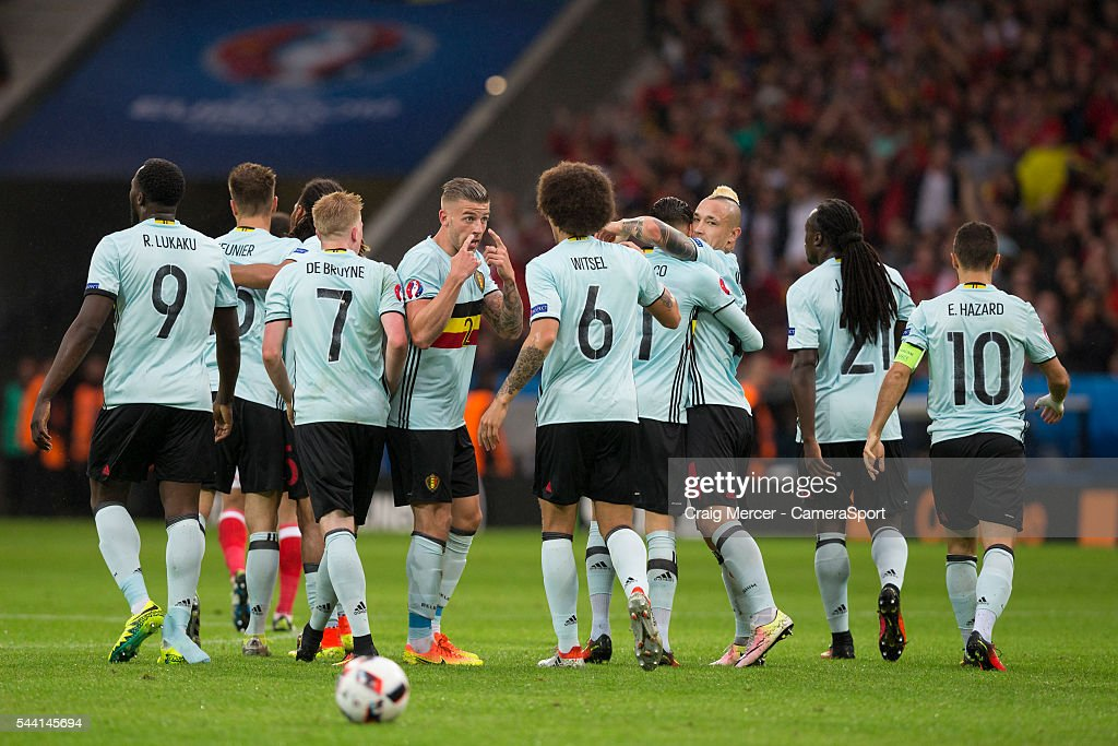 Belgium's <a gi-track='captionPersonalityLinkClicked' href=/galleries/search?phrase=Toby+Alderweireld&family=editorial&specificpeople=653048 ng-click='$event.stopPropagation()'>Toby Alderweireld</a> (centre) tells his team mates to focus after celebrating their side's opening goal during the UEFA Euro 2016 Quarter-final match between Wales and Belgium at Stade Pierre Mauroy on July 01 in Marseille, France.