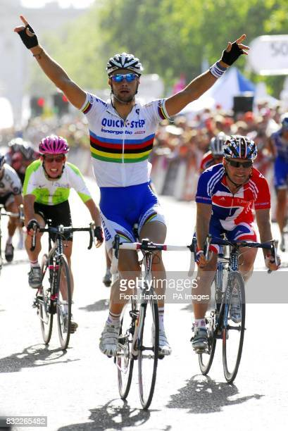 Belgium's Tom Boonen of the QuickStepInnergetic team wins stage 6 ahead of Great Britain's Roger Hammond of team Great Britain in the final stage of...
