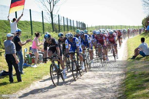 Belgium's Tom Boonen rides on the cobblestones during the 115th edition of the ParisRoubaix oneday classic cycling race between Compiegne and Roubaix...