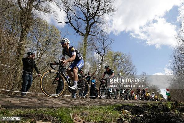 Belgium's Tom Boonen rides on the cobblestones in a breakaway during the 114th edition of the ParisRoubaix oneday classic cycling race between...