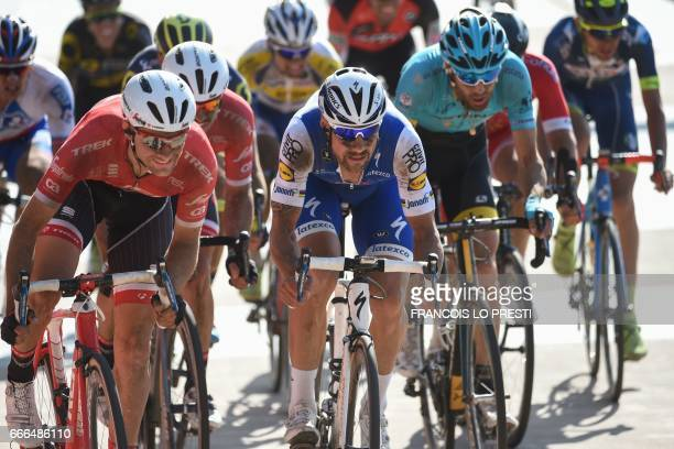 Belgium's Tom Boonen rides towards the finish line at the end of the 115th edition of the ParisRoubaix oneday classic cycling race between Compiegne...