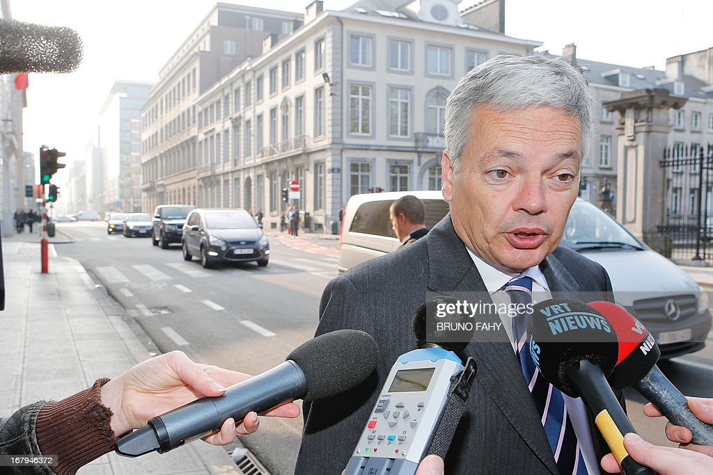 Belgium's Vice-Prime Minister and Foreign Minister Didier Reynders (MR French-speaking liberals) talks to the press as he arrives at the Prime Minister's office for a Kern meeting, a restricted ministers cabinet, at the 16 Law Street (16 rue de la Loi / 16 Wetstraat) in Brussels on May 3, 2013.