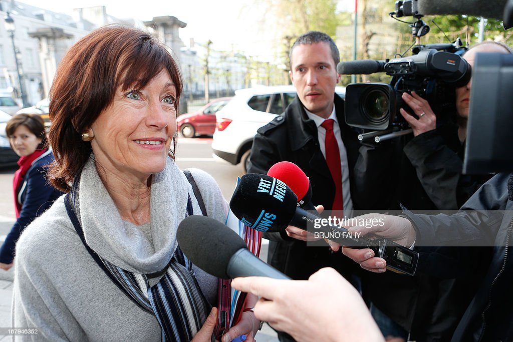 Belgium's Vice-Prime Minister and Minister of Social Affairs and Public Health Laurette Onkelinx (PS French-speaking Socialists) talks to the press as she arrives at the Prime Minister's office for a Kern meeting, a restricted ministers cabinet, at the 16 Law Street (16 rue de la Loi / 16 Wetstraat) in Brussels on May 3, 2013.