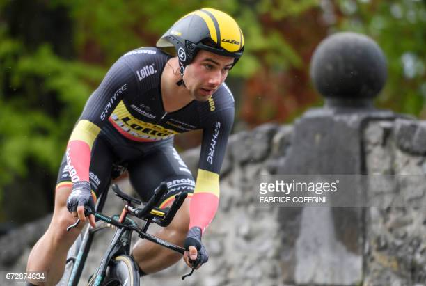 Belgium's Victor Campenaerts of team Lotto NLJumbo rides to place fifth during the 48 km prologue of the Tour of Romandy UCI protour cycling race on...