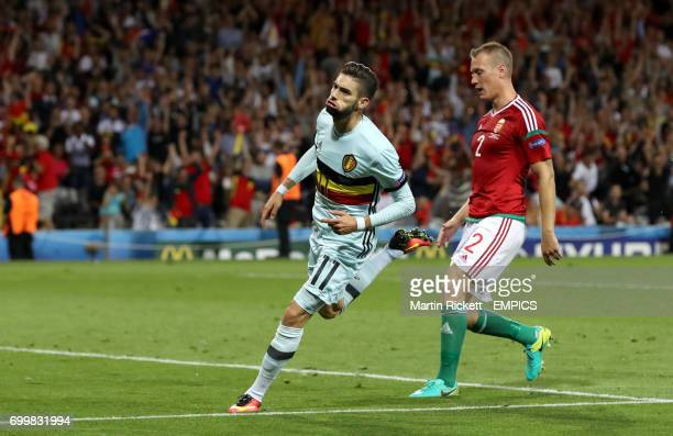 Belgium's Yannick Ferreira Carrasco celebrates scoring his side's fourth goal of the game