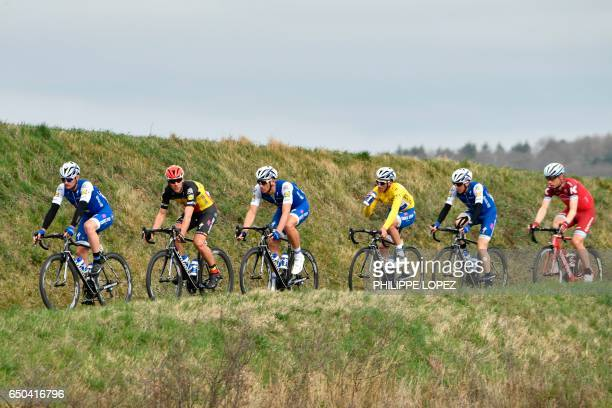 Belgium's Yves Lampaert Belgium's Philippe Gilbert Germany's Marcel Kittel France's Julian Alaphilippe wearing the overall leader's yellow jersey...