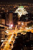 Aerial view of Slavija square and St. Sava Temple (Belgrade, Serbia)