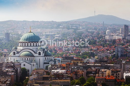 Belgrade downtown skyline with temple of Saint Sava and Avala tower : Stock Photo