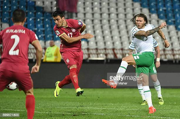 Belgrade Serbia 5 September 2016 Jeff Hendrick of Republic of Ireland scores his sides first goal during the FIFA World Cup Qualifier match between...