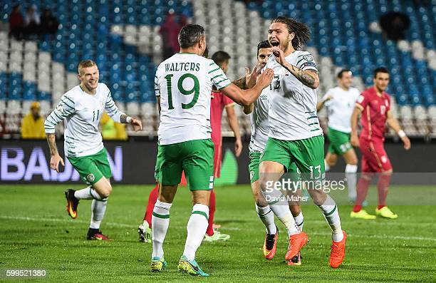 Belgrade Serbia 5 September 2016 Jeff Hendrick right of Republic of Ireland celebrates scoring his side's first goal with team mate Jonathan Walters...